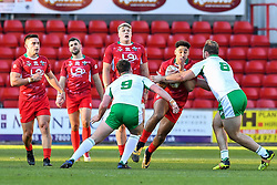 11th November 2018 , Racecourse Ground,  Wrexham, Wales ;  Rugby League World Cup Qualifier,Wales v Ireland ; Dalton Grant of Wales is tackled by George King of Ireland <br /> <br /> <br /> Credit:   Craig Thomas/Replay Images