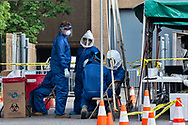 National Guard and medical professionals at a coronavirus testing site in New Orleans set up behind the Mahala Jackson Theater in New Orleans.