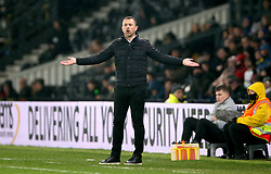 Derby County manager Gary Rowett gestures on the touchline
