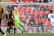 Morpeth Town Karl Dryden tips a shot on to his bar  during the FA Vase match between Hereford FC  and Morpeth Town at Wembley Stadium, London, England on 22 May 2016. Photo by Dennis Goodwin.