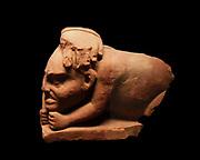 Crouched sandstone figure of a Yaksha (dwar figure from Hindu mythology) Dated circa 100-200 AD.