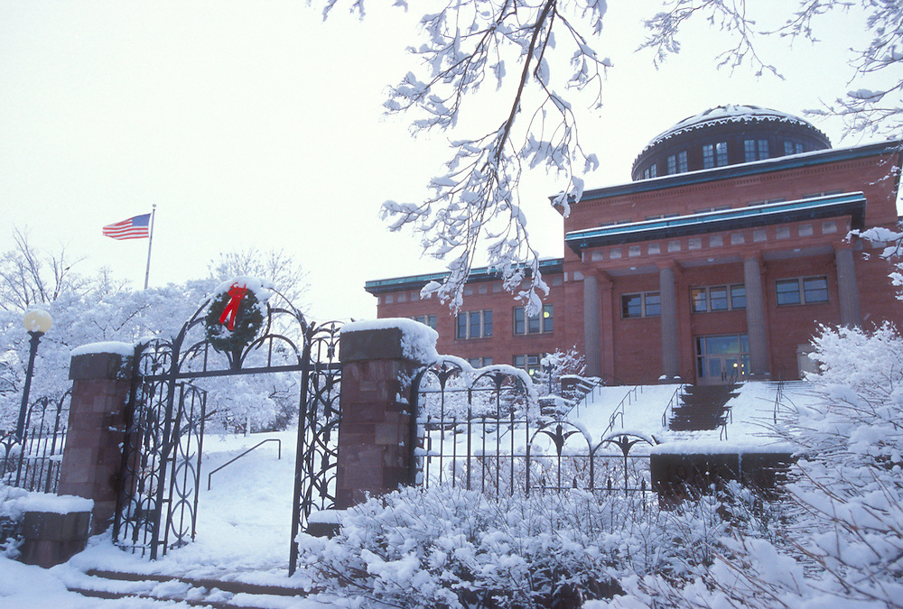 The Marquette County Courthouse is seen during a snow storm.
