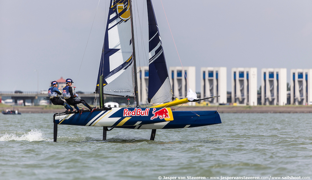 Foiling Generation is seen during a knockout session in Lelystad, Netherlands on July 15, 2016