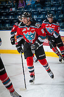 KELOWNA, CANADA - OCTOBER 14: Tanner Wishnowski #9 of Kelowna Rockets warms up against the Saskatoon Blades on October 14, 2016 at Prospera Place in Kelowna, British Columbia, Canada.  (Photo by Marissa Baecker/Shoot the Breeze)  *** Local Caption *** Tanner Wishnowski;