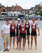 Henley, Great Britain.  Henley Royal Regatta. Harvard University 'A', M4+, together with Coach, Bill MANNING, celebrate, after winning, the Prince Albert Challenge Cup. River Thames,  Henley Reach.  Royal Regatta. River Thames Henley Reach. Sunday  11:53:40  03/07/2011  [Mandatory Credit/Intersport Images] . HRR