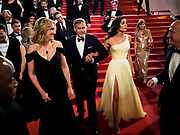 Cannes , France<br /> 12/05/2016<br /> Julia Roberts, George Clooney and Amal Clooney leave the screening of Money Monster at the Palais des Festival during The 69th Annual Cannes Film Festival