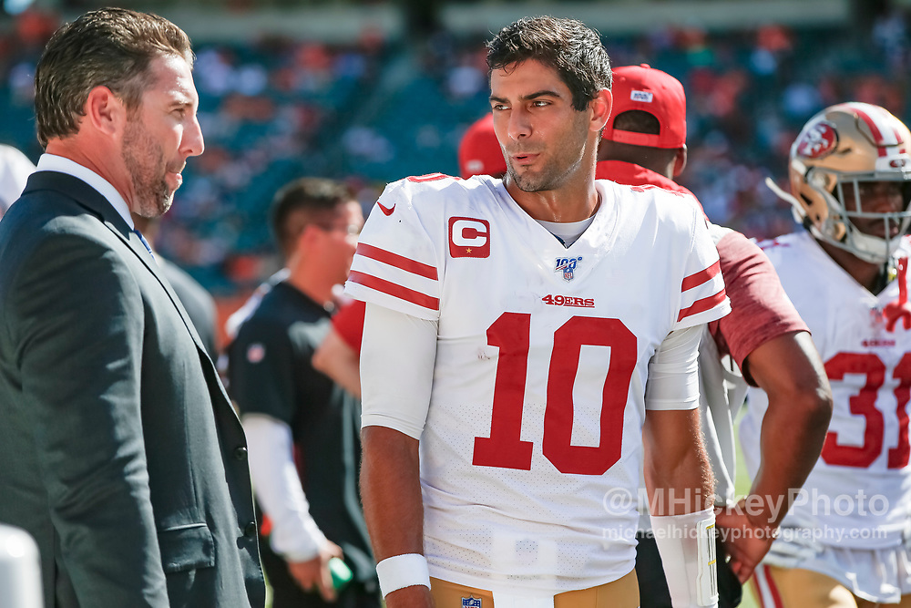 CINCINNATI, OH - SEPTEMBER 15: Jimmy Garoppolo #10 of the San Francisco 49ers is seen during the game against the Cincinnati Bengals at Paul Brown Stadium on September 15, 2019 in Cincinnati, Ohio. (Photo by Michael Hickey/Getty Images) *** Local Caption *** Jimmy Garoppolo