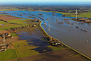 Nederland, Gelderland, De Voorster Klei , 20-01-2011; IJssel bij hoogwater ten noorden van Zutphen, links de Voorsterklei. In het kader van het programma Ruimte voor de Rivier zal een nieuwe dijk aangelegd worden (verder 'landinwaarts'). Door de dijkverlegging zal er bij toekomstig hoogwater een waterstanddaling optreden..Flooded land and riverbanks caused by the hig waters of the river IJssel near Zutphen..The dike in the foreground will be partially excavated, creating more 'room for the river', decreasing water levels in case of the high waters (flood). A new dike will be build further away from the river..luchtfoto (toeslag), aerial photo (additional fee required).copyright foto/photo Siebe Swart