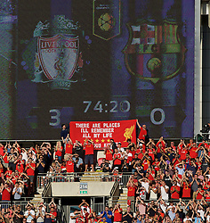 """LONDON, ENGLAND - Saturday, August 6, 2016: Liverpool supporters unfurl a banner during the International Champions Cup match against FC Barcelona at Wembley Stadium. """"There are things I'll remember all my life"""" (Pic by David Rawcliffe/Propaganda)"""