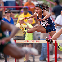 050914       Cable Hoover<br /> <br /> Window Rock Scout Caleigh Curley competes in the 110-meter hurdles during the Arizona State Track Meet at Mesa Community College in Mesa Friday.