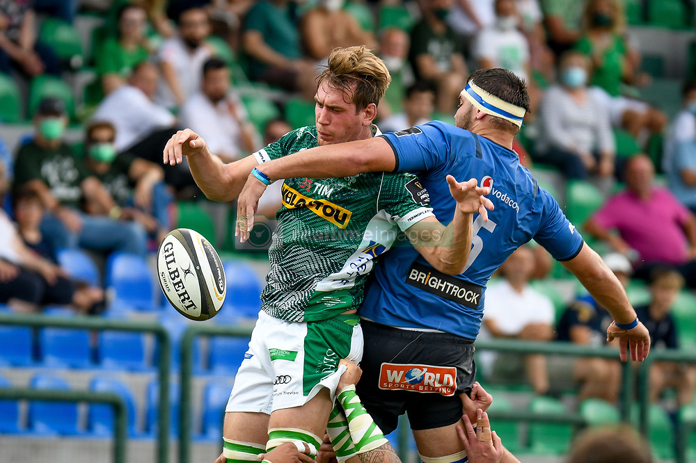 Federico Ruzza (Benetton Treviso) touche against Jan Uys (Bulls) during Rainbow Cup 2021 Final - Benetton Treviso vs Vodacom Blue Bulls, Rugby Guinness Pro 14 match in Treviso, Italy, June 19 2021