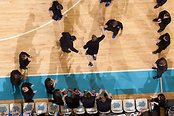 CHAPEL HILL, NC - MARCH 05: An overhead view of Kyle Singler #12 of the Duke Blue Devils entering the court before playing the North Carolina Tar Heels on March 05, 2011 at the Dean E. Smith Center in Chapel Hill, North Carolina. North Carolina won 67-81. (Photo by Peyton Williams/UNC/Getty Images) *** Local Caption *** Kyle Singler