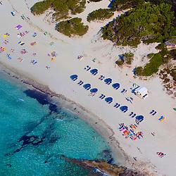 Aerial view of Beach in ibiza Spain