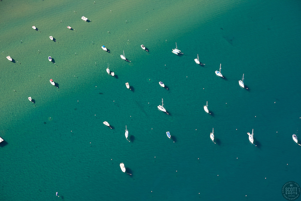 """""""Boats in Lake Tahoe Aerial"""" - These boats were photographed in Lake Tahoe from an amphibious seaplane with the door removed."""