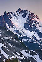 Afterglow over NE face of Mount Shuksan (9131 feet, 2783 meters) with view of the Price Glacier, North Cascades Washington  beauty in nature