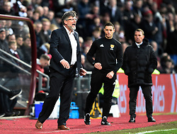 Hearts manager Craig Levein shouts instructions from the touchline during the Ladbrokes Scottish Premiership match at Tynecastle Stadium, Edinburgh.
