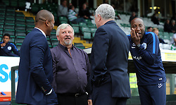 QPR's Director of Football Les Ferdinand shares a laugh with Yeovil Town's Manager Paul Sturrock and QPR's Manager Chris Ramsey- Photo mandatory by-line: Harry Trump/JMP - Mobile: 07966 386802 - 11/08/15 - SPORT - FOOTBALL - Capital One Cup - First Round - Yeovil Town v QPR - Huish Park, Yeovil, England.