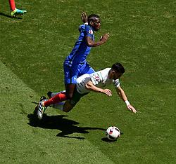 Republic of Ireland win a penalty as Paul Pogba of France fouls  Shane Long of Republic of Ireland to  - Mandatory by-line: Joe Meredith/JMP - 26/06/2016 - FOOTBALL - Stade de Lyon - Lyon, France - France v Republic of Ireland - UEFA European Championship Round of 16