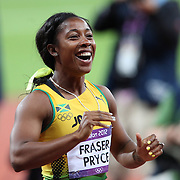 Shelly-Ann Fraser-Pryce, Jamaica, celebrates after winning the Gold Medal in the Women's 100m Final at the Olympic Stadium, Olympic Park, during the London 2012 Olympic games. London, UK. 4th August 2012. Photo Tim Clayton