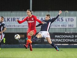 Rangers Bilel Moshsni and Falkirk's Rory Loy. Falkirk 1 v 1 Rangers, Scottish Championship game played 27/2/2014 at The Falkirk Stadium .