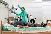 Bergamo, the covid follow up department at Bergamo fair pavilion, routine tests, blood pressure, heart beat etc.