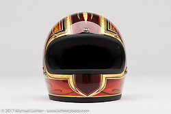 Brenden Parsons' helmet from the Old Iron - Young Blood exhibition in the Motorcycles as Art gallery at the Buffalo Chip during the annual Sturgis Black Hills Motorcycle Rally. Sturgis, SD. USA. Tuesday August 8, 2017. Photography ©2017 Michael Lichter.