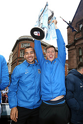 Coventry City's Rod McDonald (left) and Dominic Hyam during the Sky Bet League Two promotion parade in Coventry.
