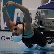 Missy Franklin, USA, at the start of the Women's 100m backstroke heats during the swimming heats at the Aquatic Centre at Olympic Park, Stratford during the London 2012 Olympic games. London, UK. 29th July 2012. Photo Tim Clayton