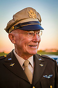 """World War II P-38 pilot Ray Bell pictured wearing his original """"pinks and greens"""" uniform.  His son is also a pilot, and his grandson flies 747's around the Pacific rim.  Created in Lawrenceville, Georgia.  <br /> <br /> Created by aviation photographer John Slemp of Aerographs Aviation Photography. Clients include Goodyear Aviation Tires, Phillips 66 Aviation Fuels, Smithsonian Air & Space magazine, and The Lindbergh Foundation.  Specialising in high end commercial aviation photography and the supply of aviation stock photography for advertising, corporate, and editorial use."""