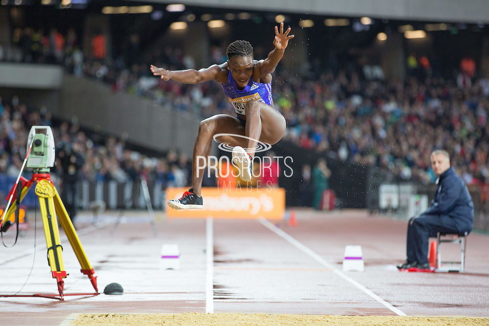 Kimberly Williams of Jamaica in the Womans Triple Jump during the Sainsbury's Anniversary Games at the Queen Elizabeth II Olympic Park, London, United Kingdom on 24 July 2015. Photo by Phil Duncan.