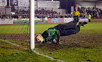 Photo: Leigh Quinnell.<br /> Tamworth v Stoke City. The FA Cup. 17/01/2006. Tamworth keeper Scott Bevan can't stop the ball hitting the back of the net in the penalty shoot out.