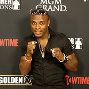 Boxer Kid Chocolate is seen on the red carpet prior to the Mayweather versus Maidana boxing match at the MGM Grand hotel on Saturday, May 3, 2014 in Las Vegas, Nevada.  (AP Photo/Alex Menendez)