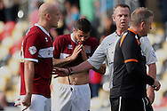 Northampton manager Chris Wilder (far right) turns away after confronting referee Christopher Sarginson at the end of the match.  Skybet football league two match, Newport county v Northampton Town at Rodney Parade in Newport, South Wales on Saturday13th Sept 2014<br /> pic by Mark Hawkins, Andrew Orchard sports photography.