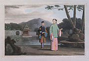 A Chinese lady presiding in her garden retreat: she is precluded by her exalted rank from any occupation but smoking ; and, except in holding her silk purse, or occasionally waving the fan, appears to have no use for her fingers. The dignity of her birth is sufficiently attested by the Lilliputian shoe. The practice of compressing the female foot is peculiar to the Chinese, and its origin has hitherto baffled all the efforts of industry and curiosity: it has been commonly attributed to jealousy ; but that passion is at least equally powerful in Turkey and Hindostan, where it has produced no analogous absurdity. The liberty of the Chinese ladies in reality is not abridged by their lameness ; they can saunter in the garden; they are permitted to go abroad in palanquins; and are in general even less restricted than other Asiatic females. colour print from the book ' A Picturesque Voyage to India by Way of China  ' by Thomas Daniell, R.A. and William Daniell, A.R.A. London : Printed for Longman, Hurst, Rees, and Orme, and William Daniell by Thomas Davison, 1810. The Daniells' original watercolors for the scenes depicted herein are now at the Yale Center for British Art, Department of Rare Books and Manuscripts,