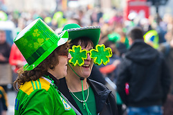 London, March 13th 2016. The annual St Patrick's Day Parade takes place in the Capital with various groups from the Irish community as well as contingents from other ethnicities taking part in a procession from Green Park to Trafalgar Square.  PICTURED: Plenty of novelty Irish accessories are apparent among the crowd. ©Paul Davey<br /> FOR LICENCING CONTACT: Paul Davey +44 (0) 7966 016 296 paul@pauldaveycreative.co.uk