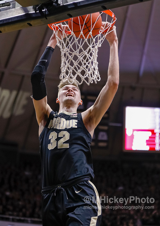 WEST LAFAYETTE, IN - JANUARY 19: Matt Haarms #32 of the Purdue Boilermakers dunks the ball during the game against the Indiana Hoosiers at Mackey Arena on January 19, 2019 in West Lafayette, Indiana. (Photo by Michael Hickey/Getty Images) *** Local Caption *** Matt Haarms