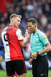(l-r) Nicolai Jorgensen of Feyenoord, referee Danny Makkelie during the Dutch Eredivisie match between Feyenoord Rotterdam and Ajax Amsterdam at the Kuip on October 22, 2017 in Rotterdam, The Netherlands