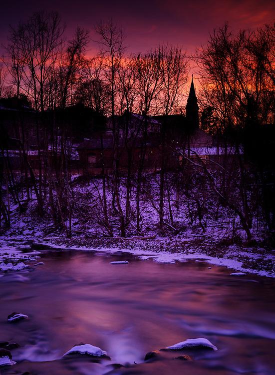 Winter Sunset over Ellicott City, MD.