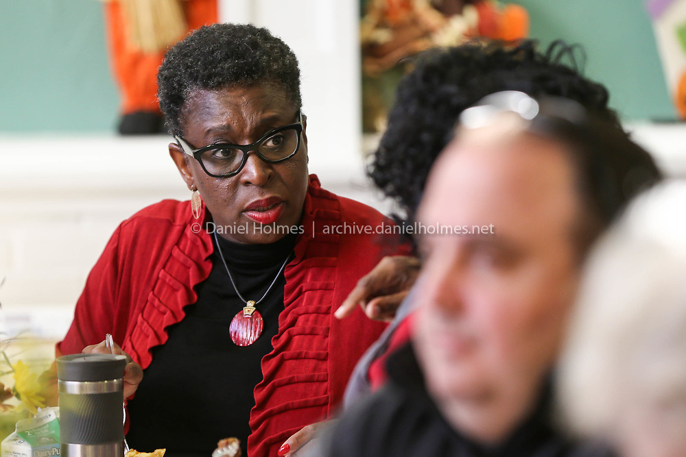(11/4/17, FRAMINGHAM, MA) Candidate for mayor, Yvonne Spicer speaks with residents during the Framingham Rotary 6th Annual Pancake Breakfast at Keefe Regional Technical School in Framingham on Saturday. [Daily News and Wicked Local Photo/Dan Holmes]