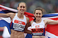 athlete Laura Muir celebrating alongside Laura Weightman with a United Kingdom flag after the sprinters qualified to compete in the 2016 Rio Olympics.The British Championships 2016, athletics event at the Alexander Stadium in Birmingham, Midlands  on Sunday 26th June 2016.<br /> pic by John Patrick Fletcher, Andrew Orchard sports photography.