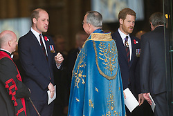 The Duke of Cambridge, Prince Harry and Meghan Markle attend an Anzac Day Service of Commemoration and Thanksgiving at Westminster Abbey, London, UK, on the 25th April 2018. Picture by Eddie Mulholland/WPA-Pool. 25 Apr 2018 Pictured: Prince William, Duke of Cambridge, Prince Harry. Photo credit: MEGA TheMegaAgency.com +1 888 505 6342