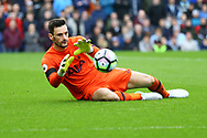 Tottenham Hotspur Goalkeeper Hugo Lloris in action. Premier League match, Burnley v Tottenham Hotspur at Turf Moor in Burnley , Lancs on Saturday 1st April 2017.<br /> pic by Chris Stading, Andrew Orchard sports photography.