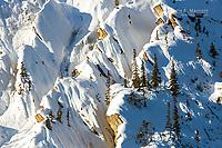 Snow-laden cliffs in Banff National Park