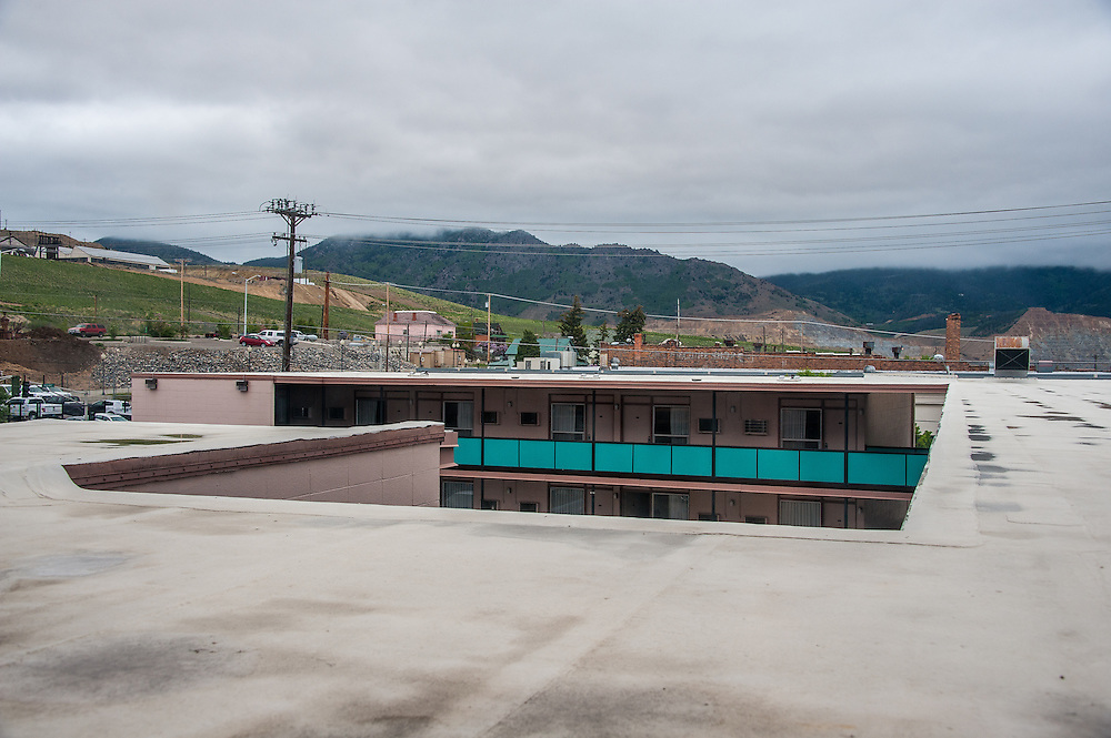 View of the Hotel Finlen's Motor Inn from a window of the hotel with Butte's Berkeley Pit in the distance,