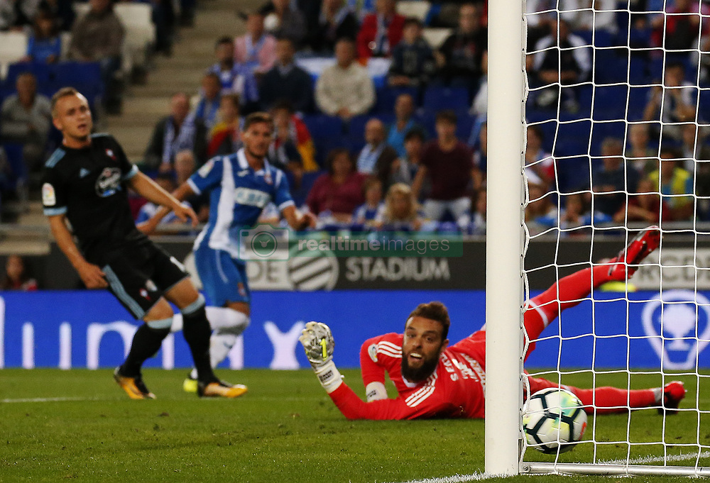 September 18, 2017 - Barcelona, Spain - Pablo Piatti goal during La Liga match between RCD Espanyol v Celta , in Barcelona, on September 18, 2017. (Credit Image: © Joan Valls/NurPhoto via ZUMA Press)
