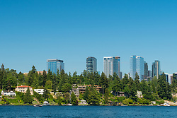 United States, Washington, Bellevue. Downtown skyline from Lake Washington.