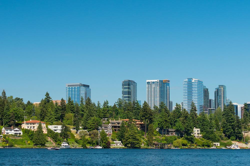 United States, Washington, Bellevue. Downtown skyline from Lake Washington.