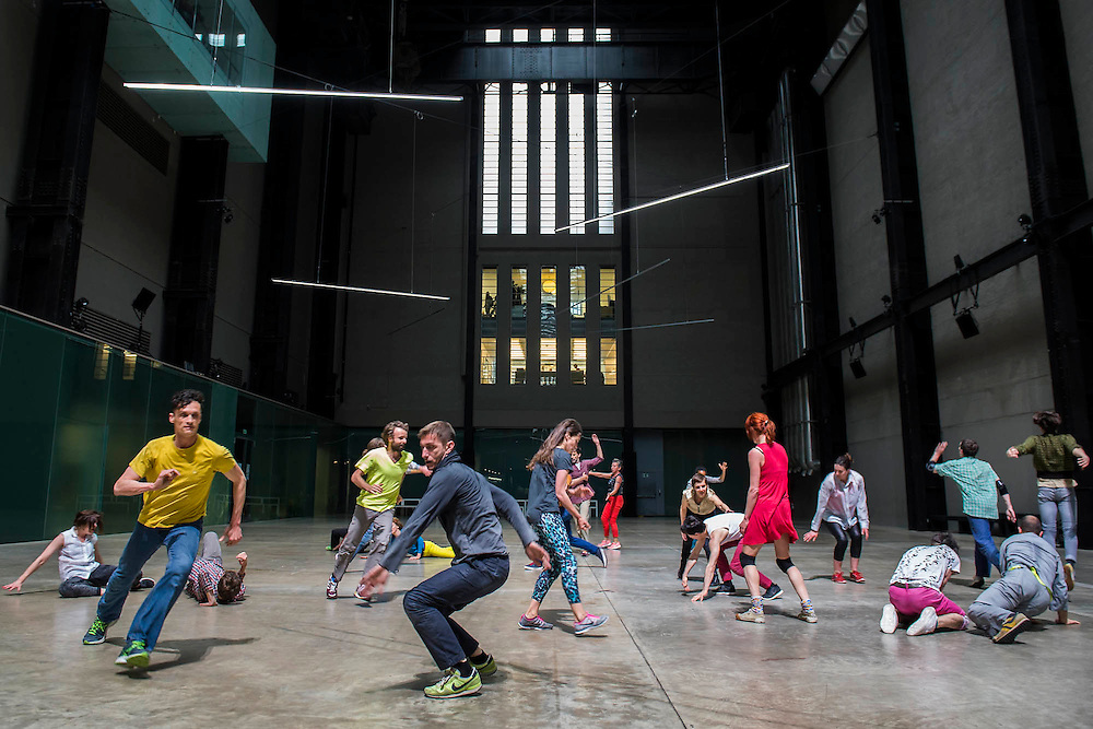 Charmatz's Musée de la danse (dancing museum) perform at the Tate Modern  (part of BMW Tate Live)- the dress rehearsal of a dance performance in the Turbine Hall, choreographed by French dancer and choreographer Boris Charmatz - 14 May 2015.  A team of 90 dancers will stage free performances throughout the building between 12.00 and 22.00 on Friday 15 and Saturday 16 May. Visitors will also be invited to participate in a warm up, a workshop and an open dancefloor.  As part of Musée de la danse in London, Boris Charmatz will also be staging two works and performing at Sadler's Wells from 17 to 23 May.