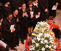 Pavarotti views the Princess Diana's coffin