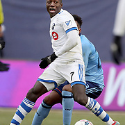 NEW YORK, NEW YORK - March 18: Dominic Oduro #7 of Montreal Impact in action during the New York City FC Vs Montreal Impact regular season MLS game at Yankee Stadium on March 18, 2017 in New York City. (Photo by Tim Clayton/Corbis via Getty Images)